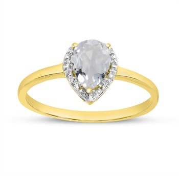 14k Yellow Gold Pear White Topaz And Diamond Ring