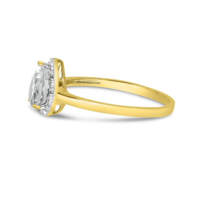 Color Merchants 14k Yellow Gold Pear White Topaz And Diamond Ring
