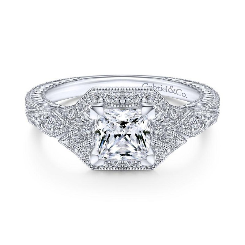 Gabriel Bridal Bestsellers Unique 14K White Gold Art Deco Princess Cut Halo Engagement Ring