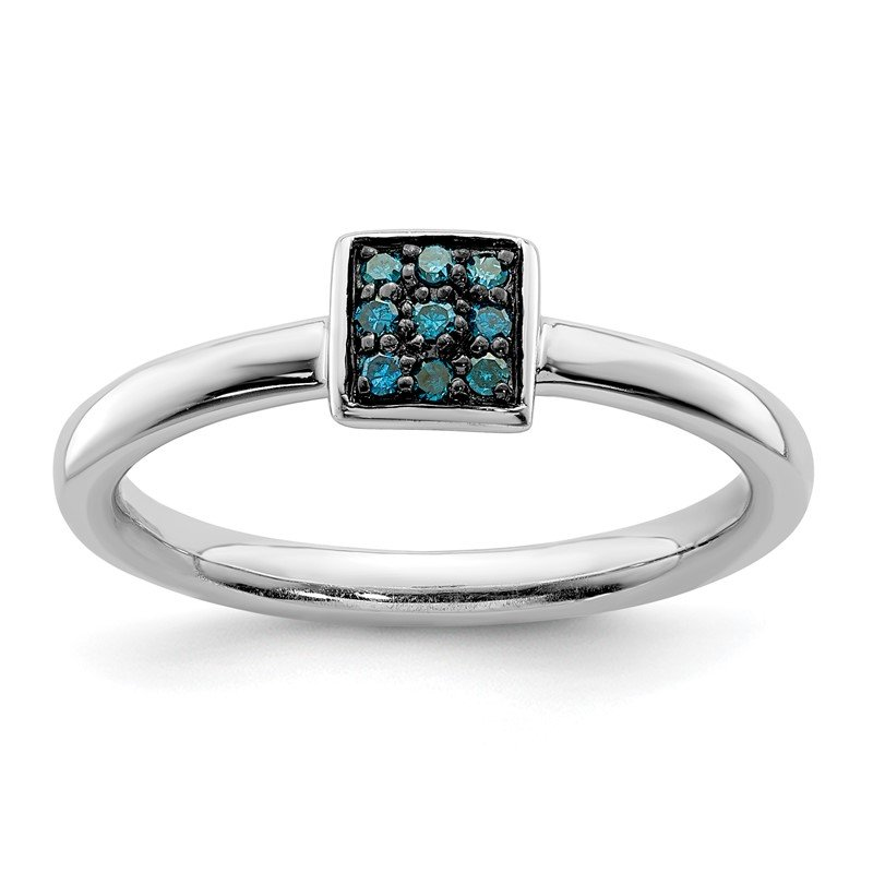 Quality Gold Sterling Silver Rhodium Blue Diam. Ring
