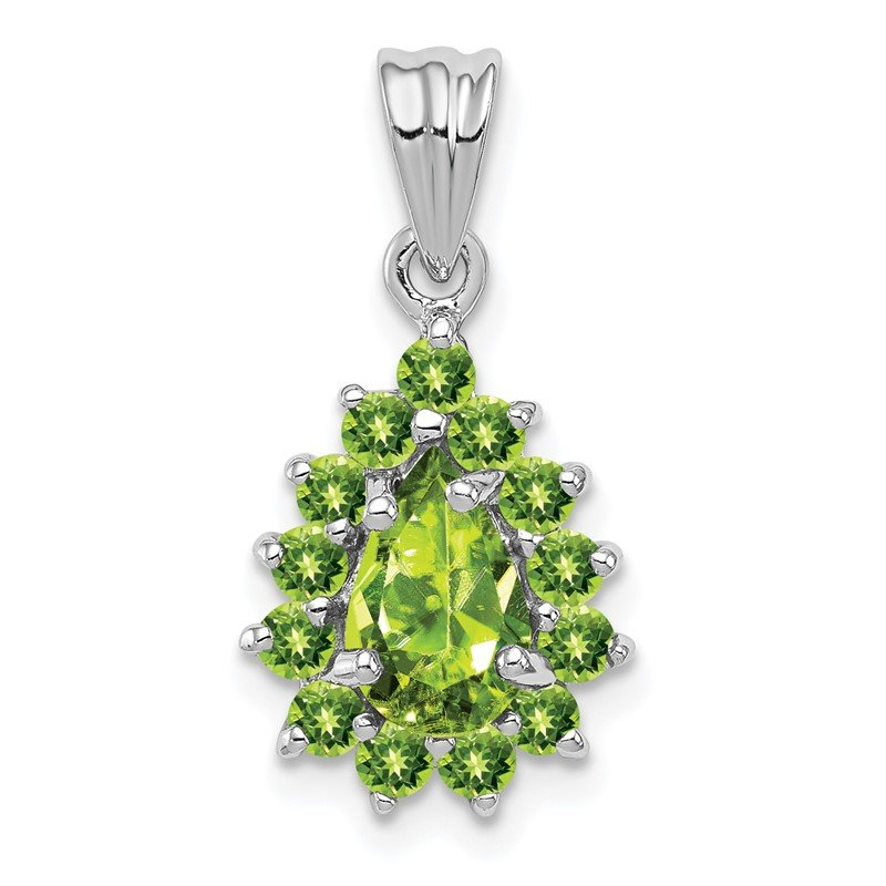 Quality Gold Sterling Silver Rhodium Peridot Pear-shaped Pendant