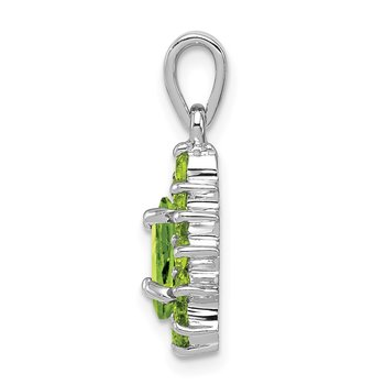 Sterling Silver Rhodium Peridot Pear-shaped Pendant