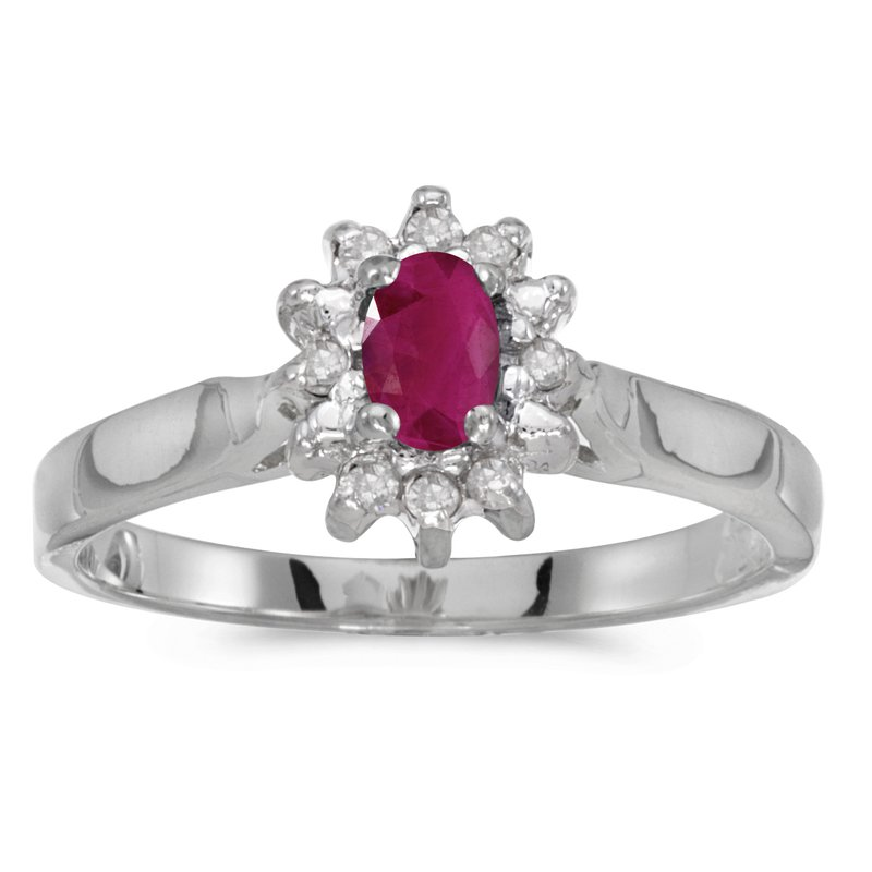 Color Merchants 10k White Gold Oval Ruby And Diamond Ring