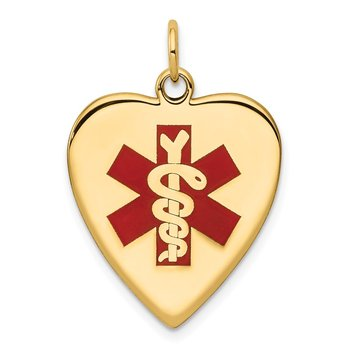14k Heart-Shaped Enameled Medical Jewelry Pendant