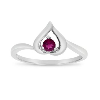 14k White Gold Round Rhodolite Garnet Heart Ring