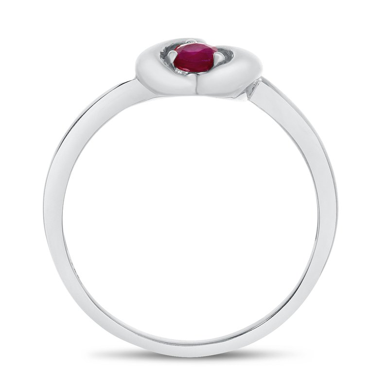 Color Merchants 14k White Gold Round Rhodolite Garnet Heart Ring