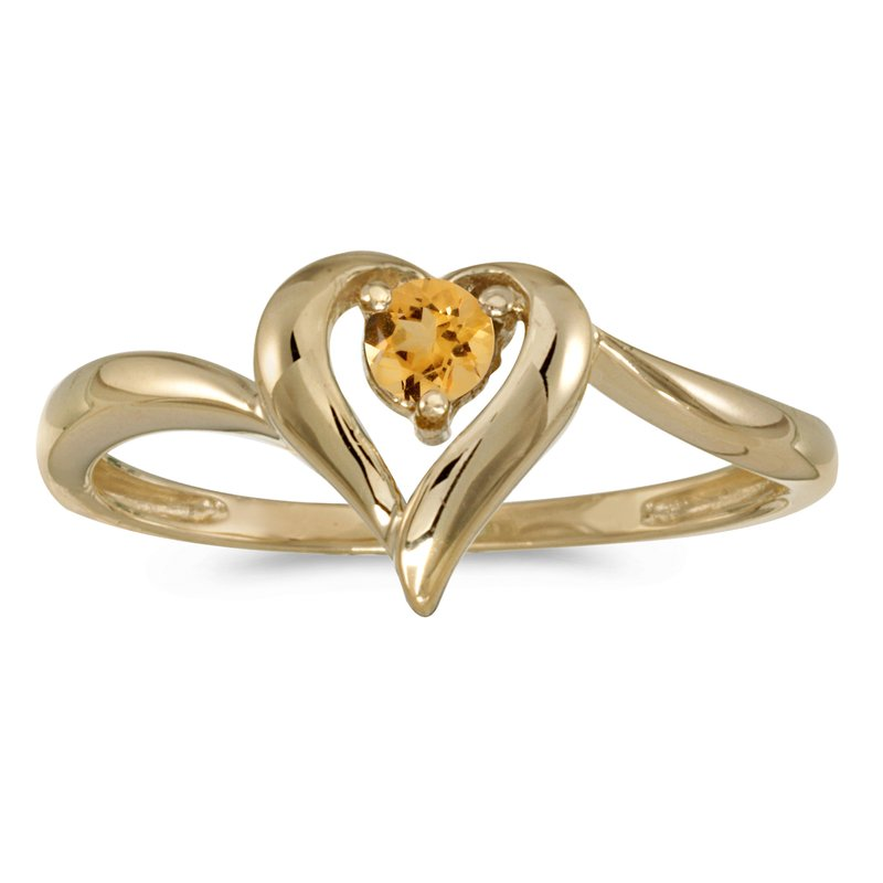10k Yellow Gold Round Citrine Heart Ring