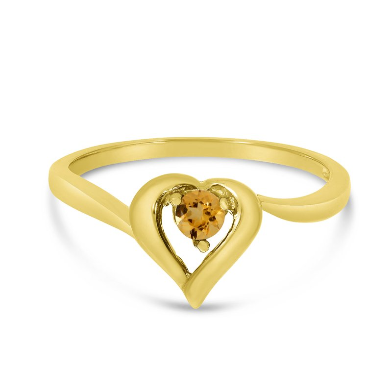 Color Merchants 10k Yellow Gold Round Citrine Heart Ring