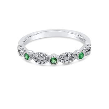 Kirk Kara 14K White Gold Diamond Tsavorite Garnet Wedding Band
