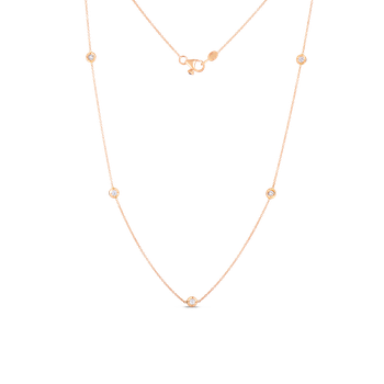 Necklace With 5 Diamond Stations &Ndash; 18K Rose Gold