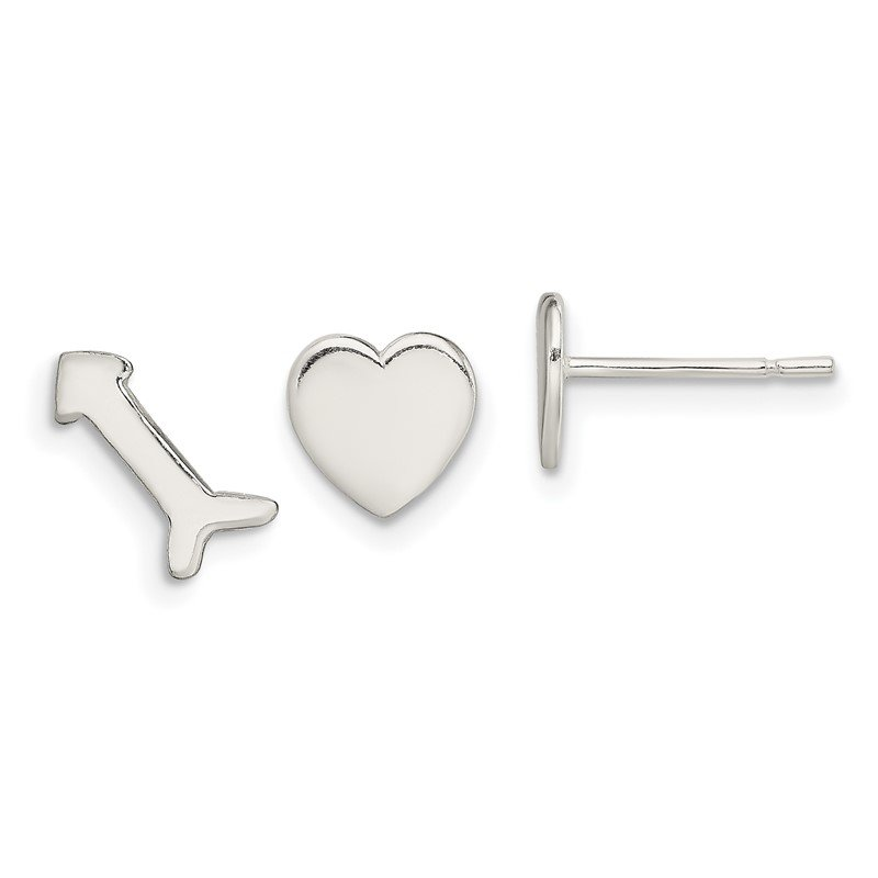 J.F. Kruse Signature Collection Sterling Silver Polished Left and Right Heart/Arrow Post Earrings