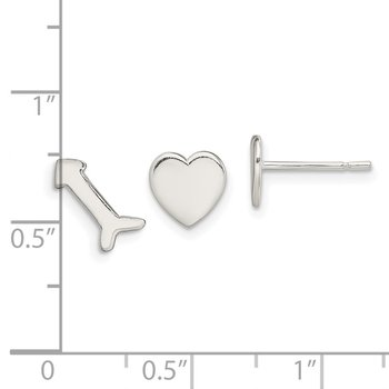 Sterling Silver Polished Left and Right Heart/Arrow Post Earrings