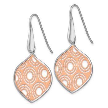 Leslie's SS Rhodium White & Rose Plated Earrings