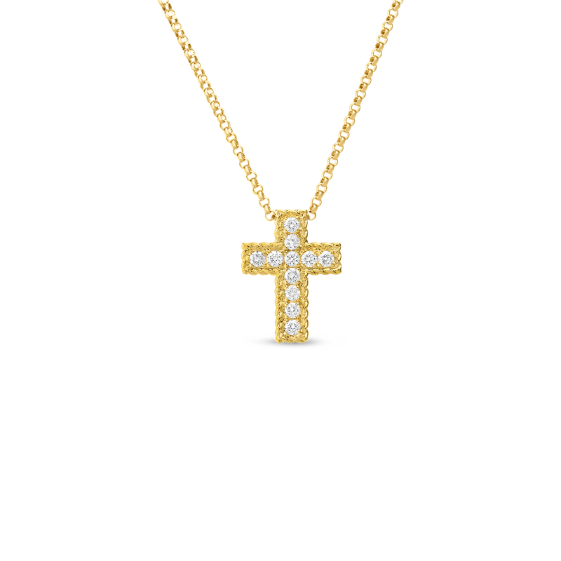 Roberto Coin 18Kt Gold Diamond Cross Pendant