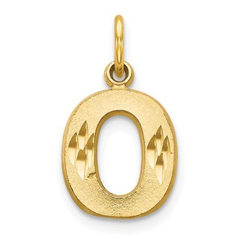 14KY Satin Diamond-cut Letter O Initial Charm