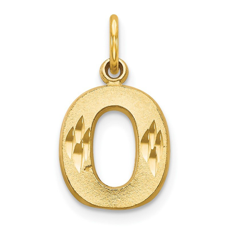 Quality Gold 14KY Satin Diamond-cut Letter O Initial Charm