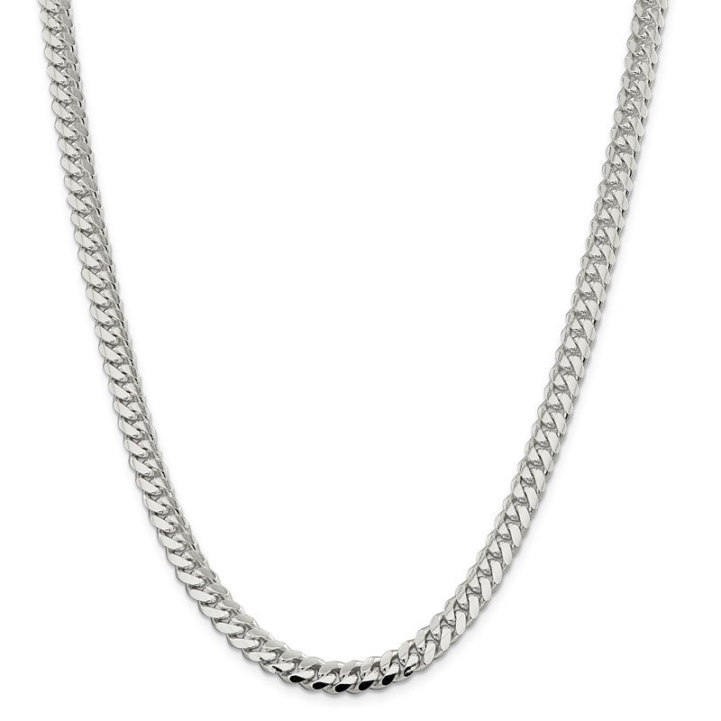 Quality Gold Sterling Silver 7.25mm Polished Domed Curb Chain