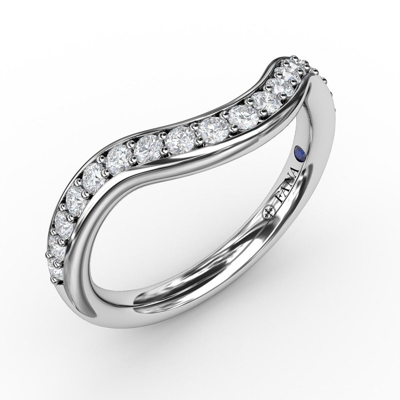 Fana 1/3ct Modern Bead and Channel Set Contour Diamond Band