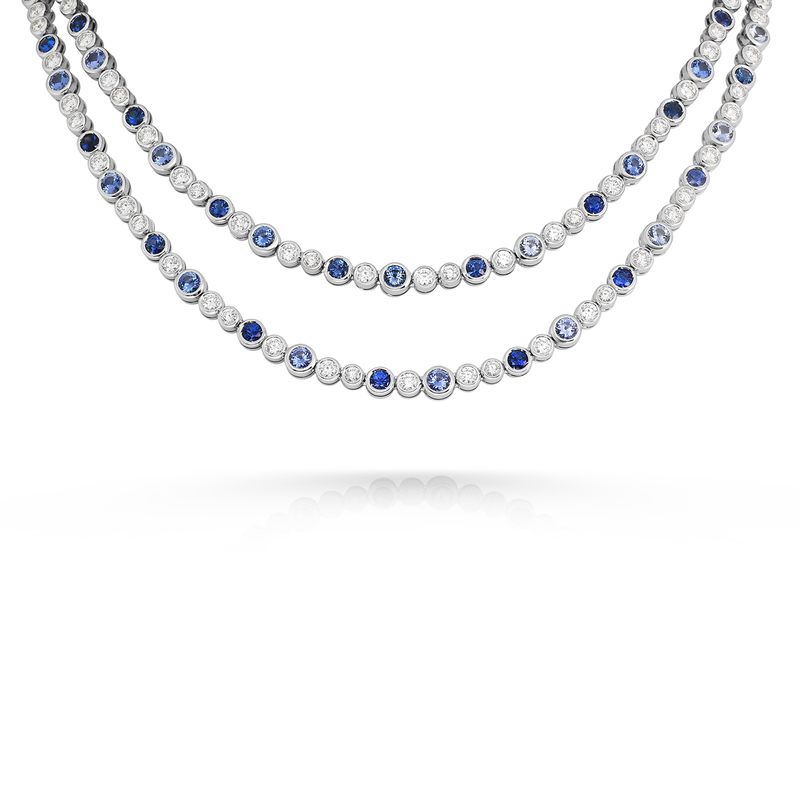 Roberto Coin Cento Frizzante Sapphire Two Row Necklace