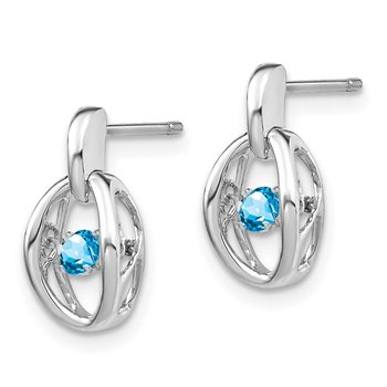 Sterling Silver Rhodium Blue Topaz Birthstone Vibrant Earrings