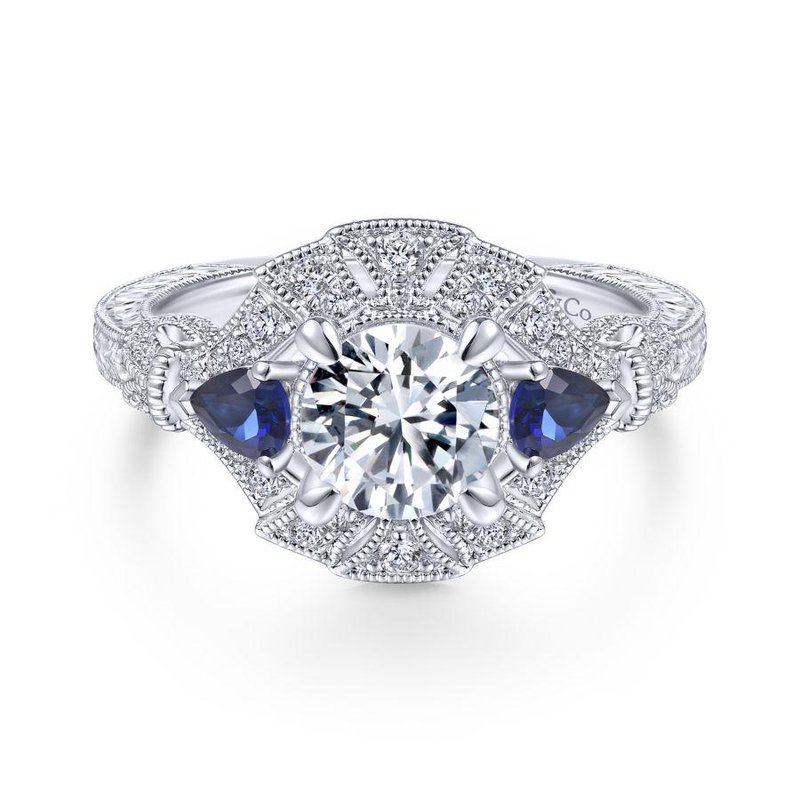 Gabriel  14K White Gold Round Sapphire and Diamond Engagement Ring