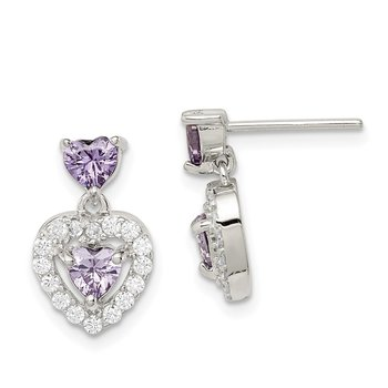 Sterling Silver Purple & Clear CZ Heart Shape Earrings