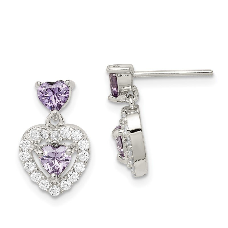 Quality Gold Sterling Silver Purple & Clear CZ Heart Shape Earrings