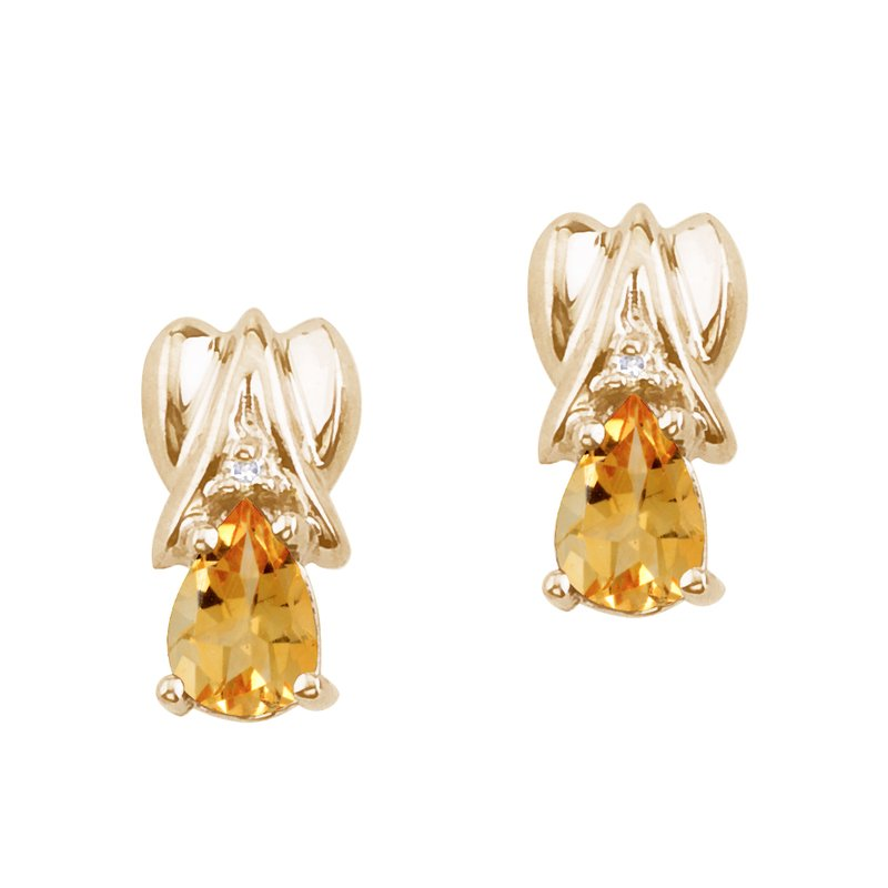 Color Merchants 14k Yellow Gold Citrine and Diamond Pear Shaped Earrings
