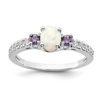Sterling Silver Rhodium-plated Created Opal. Amethyst & CZ Ring
