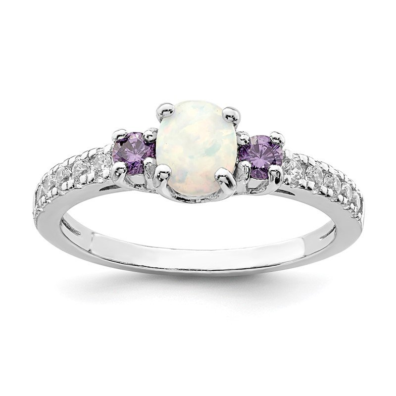 Quality Gold Sterling Silver Rhodium-plated Created Opal. Amethyst & CZ Ring