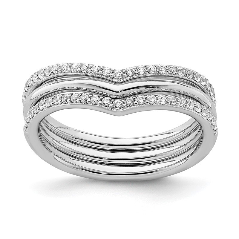Quality Gold Sterling Silver Rhodium-plated V-shape CZ 3-Ring Set