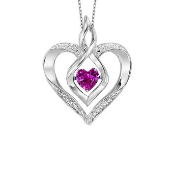 Diamond & Synthetic Pink Tourmaline Heart Infinity Symbol ROL Rhythm of Love Pendant in Sterling Silver