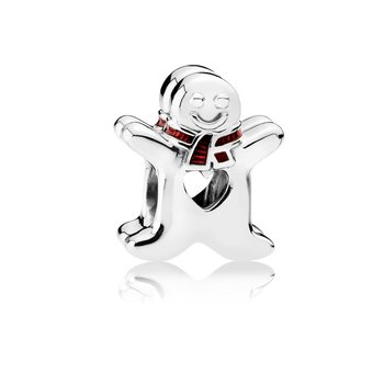 Sweet Gingerbread Man, Translucent Red Enamel