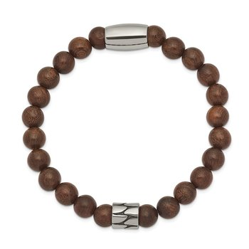 Stainless Steel Stretch Antiqued & Polished Bead Brown Phoebe Wood Bracelet