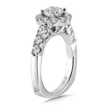 Halo Engagement Ring with Side Stones in 14K White Gold with Platinum Head (1ct. tw.)