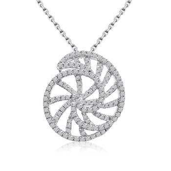 14k White Gold Diamond Shell Pendant