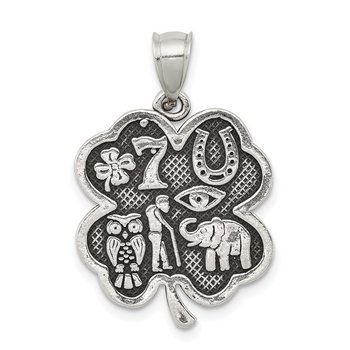 Sterling Silver Antiqued Good Luck Icon Clover Pendant