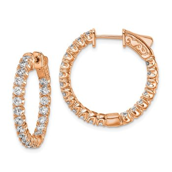 Sterling Silver Rose-tone CZ In & Out Hoop Earrings