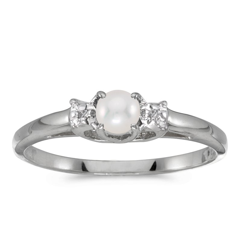 efd234f00 Color Merchants 10k White Gold Pearl And Diamond Ring. Stock # RM1575W-06