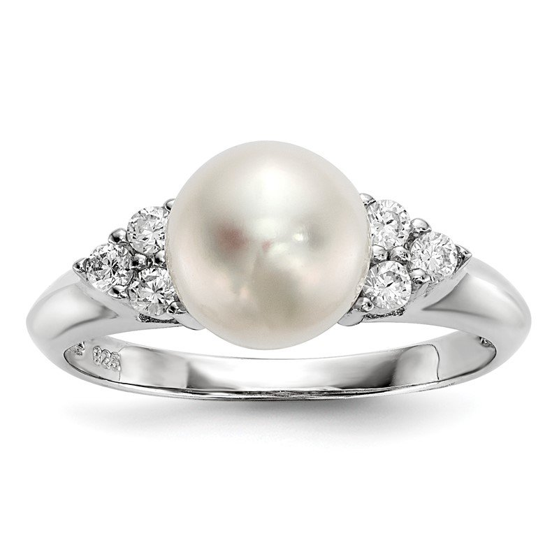 Quality Gold Sterling Silver RH 8-9mm White Button FWC Pearl CZ Ring