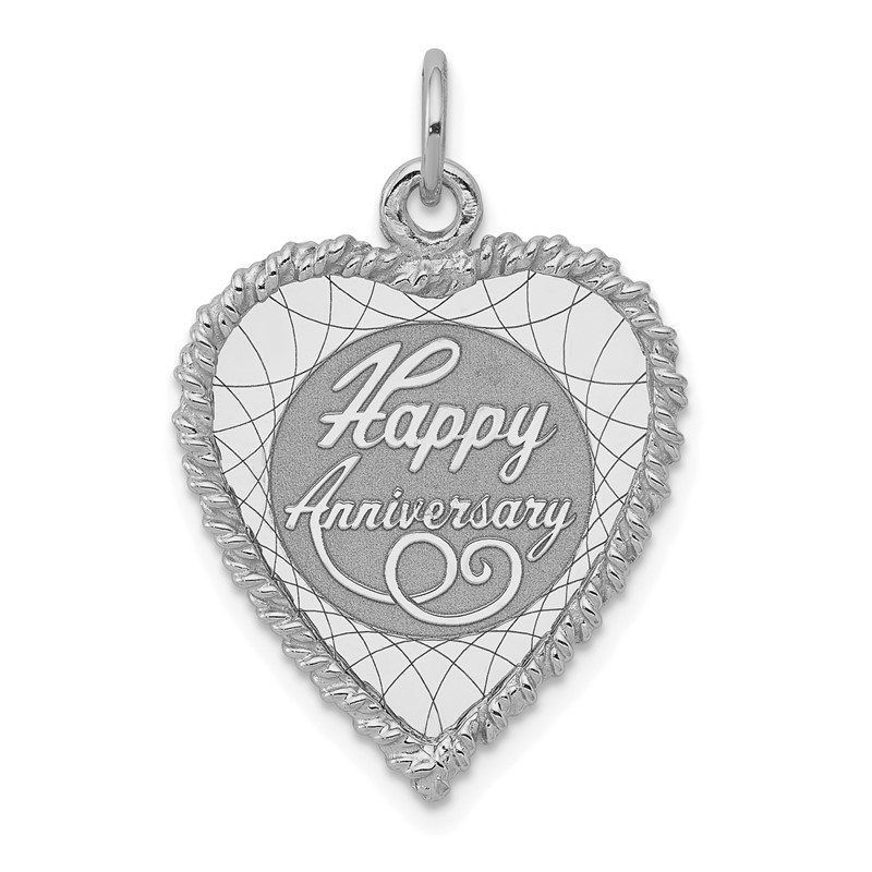 Quality Gold SS Rh-plt Happy Anniversary Polished Front/Satin Back Disc Charm