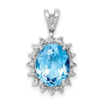 Sterling Silver Rhodium-plated Oval Swiss Blue Topaz & Diamond Pendant