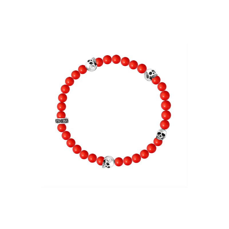King Baby 6Mm Red Coral Bead Bracelet W/ 4 Skulls