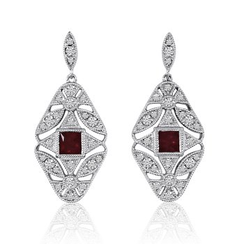 14k White Gold Filigree Princess Ruby and Diamond Earrings