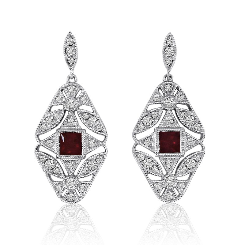 Color Merchants 14k White Gold Filigree Princess Ruby and Diamond Earrings