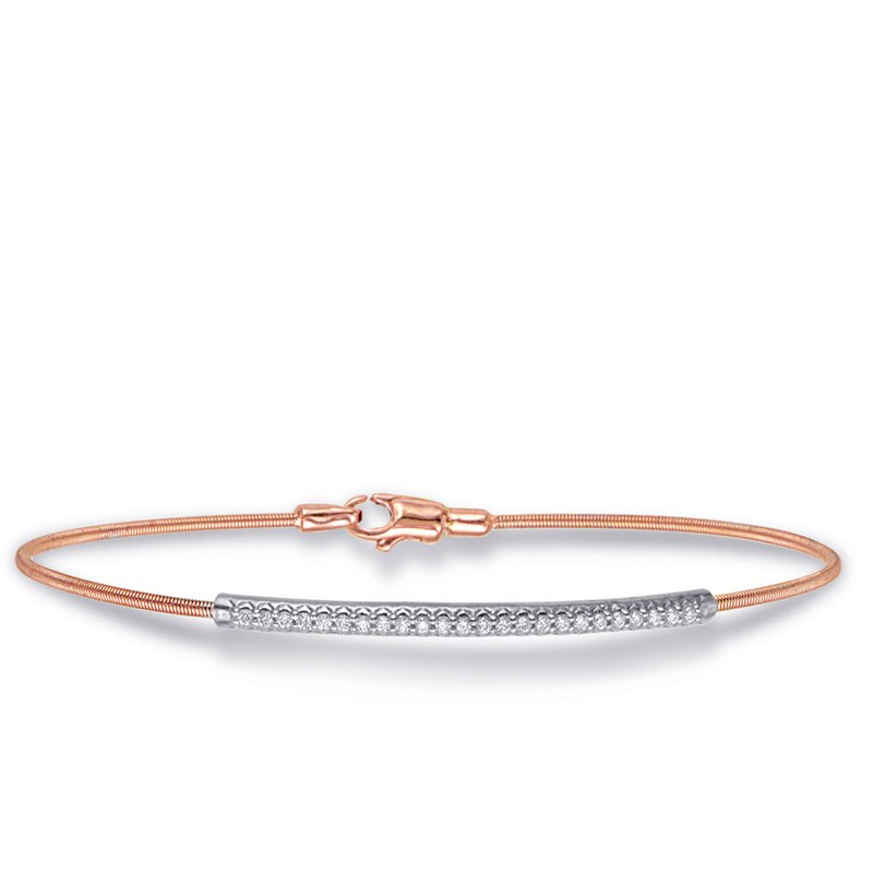 Briana White & Rose Gold Bangle Italian Made