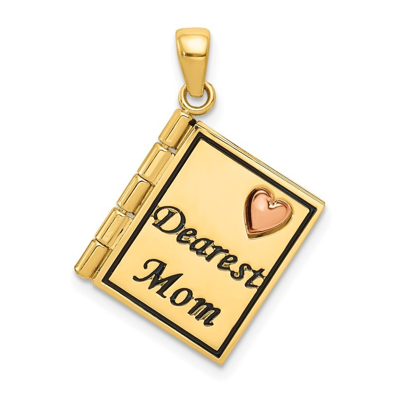 Quality Gold 14K Two-tone Moveable 3D DEAREST MOM Book Pendant