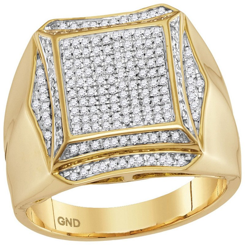 Gold-N-Diamonds, Inc. (Atlanta) 10kt Yellow Gold Mens Round Prong-set Diamond Square Cluster Ring 1/2 Cttw