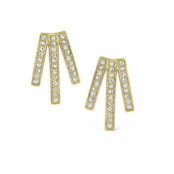 Diamond Triple Line Earrings Set in 14 Kt. Gold