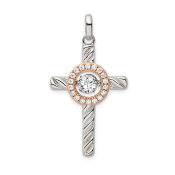 Sterling Silver Plat-plate Rose & Gold-tone Vibrant Swar Zirconia Cross Pen